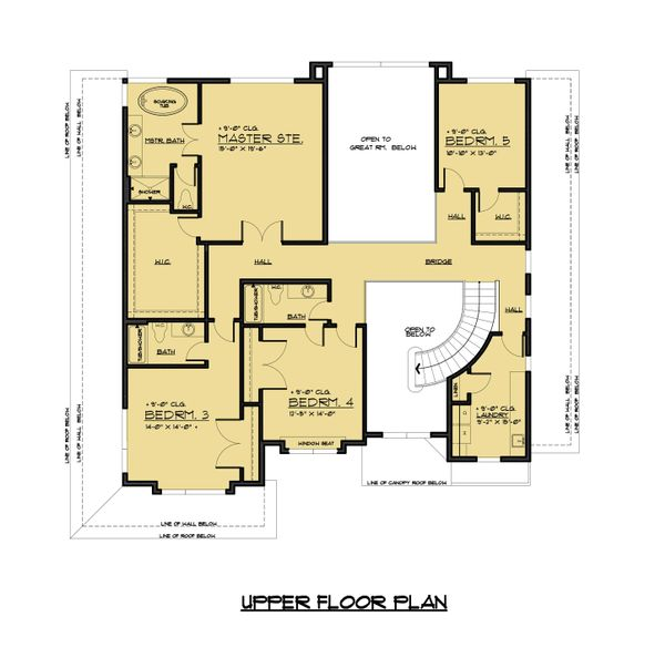 Prairie Floor Plan - Upper Floor Plan Plan #1066-72