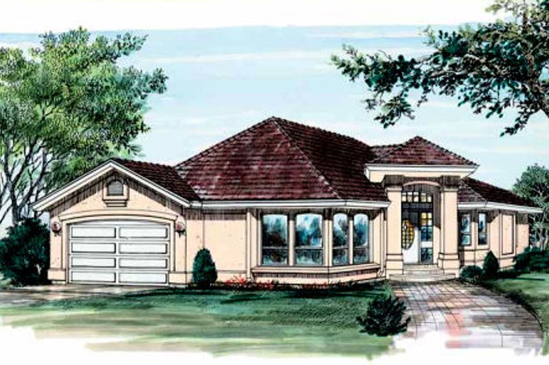 House Plan - 3 Beds 2 Baths 1635 Sq/Ft Plan #47-586 Exterior - Front Elevation