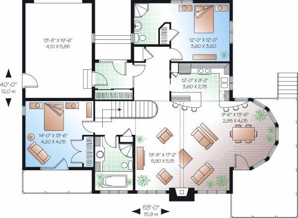 Contemporary Floor Plan - Main Floor Plan Plan #23-873