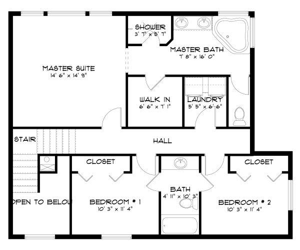 Traditional Floor Plan - Upper Floor Plan #1060-49