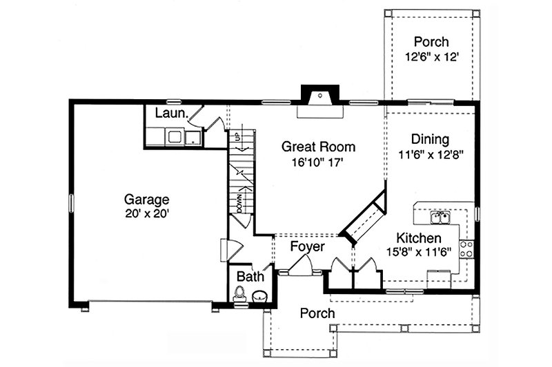 Craftsman Floor Plan - Main Floor Plan Plan #46-290