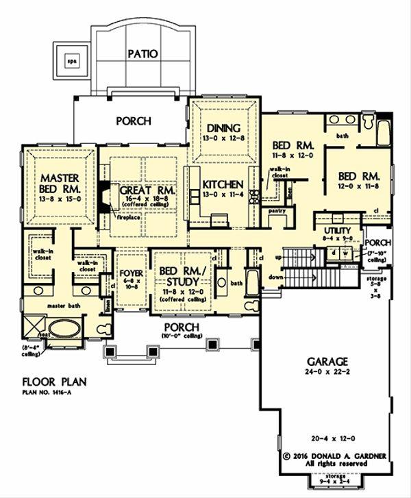 Craftsman Floor Plan - Main Floor Plan #929-1036