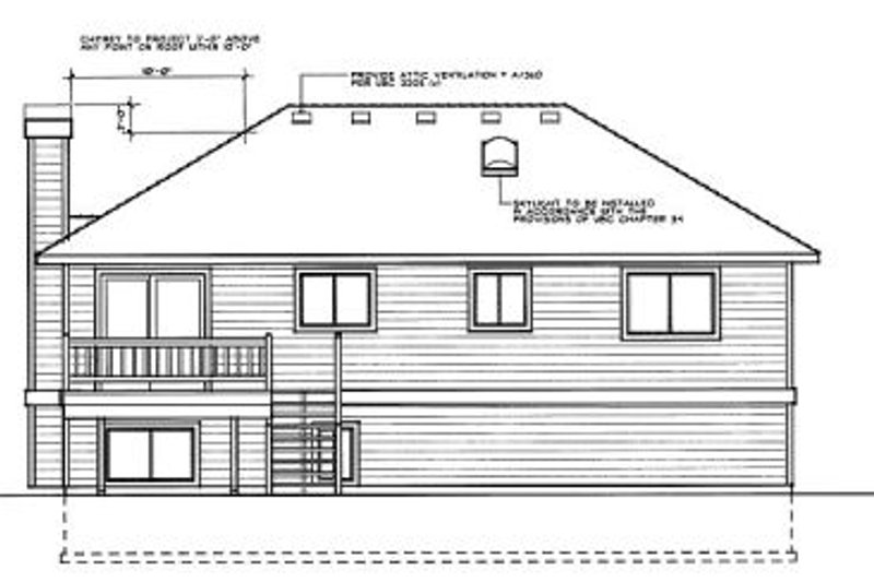 Traditional Exterior - Rear Elevation Plan #87-301 - Houseplans.com