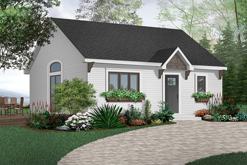 Cottage Style House Plan - 1 Beds 1 Baths 784 Sq/Ft Plan #23-113 Exterior - Front Elevation