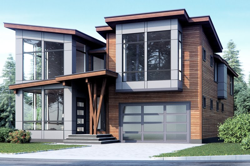 Modern Style House Plan - 4 Beds 3 Baths 3543 Sq/Ft Plan #1066-10 Exterior - Front Elevation