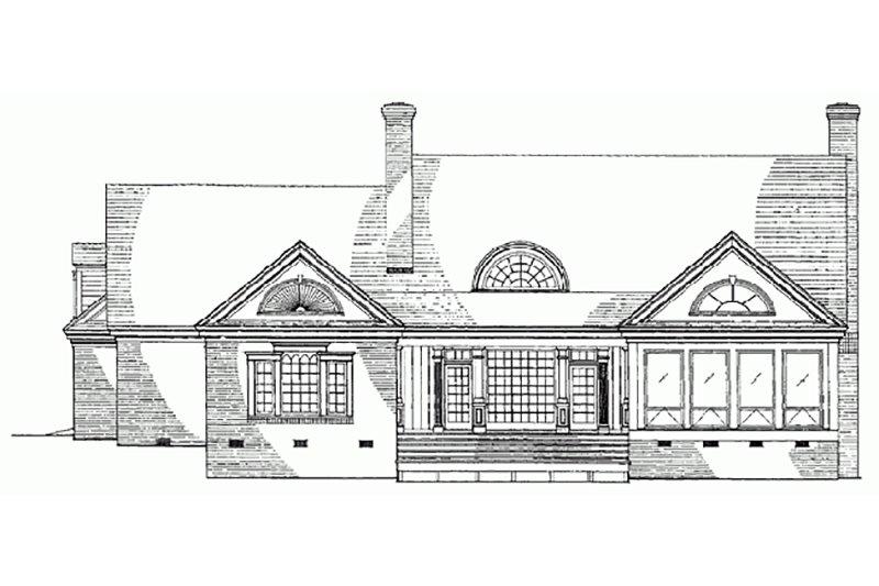 Southern Exterior - Rear Elevation Plan #137-185 - Houseplans.com