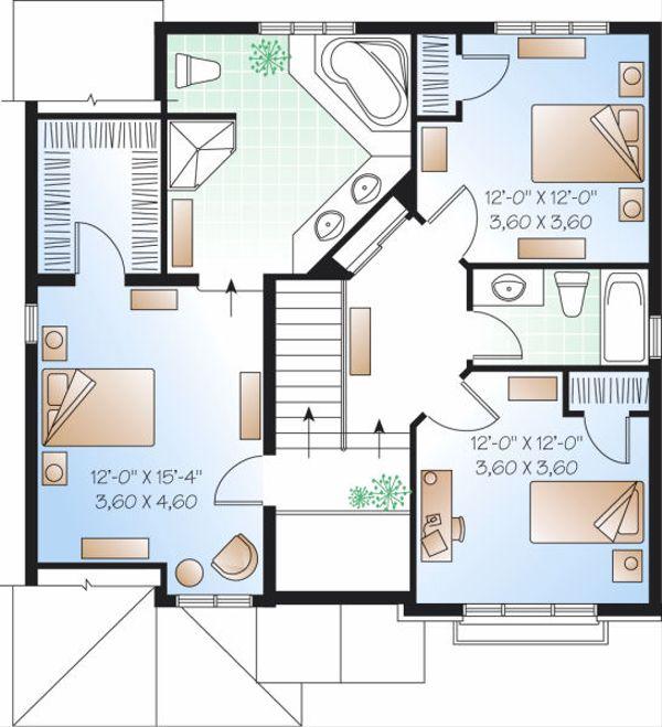 European Floor Plan - Upper Floor Plan Plan #23-801