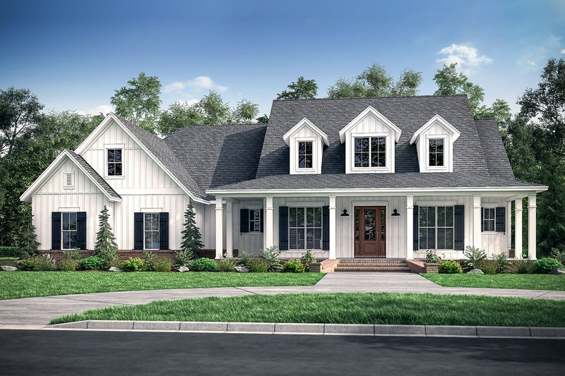 Farmhouse Style House Plan - 4 Beds 3.5 Baths 2926 Sq/Ft Plan #430-175 Exterior - Front Elevation