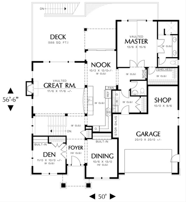 Craftsman Floor Plan - Main Floor Plan Plan #48-461