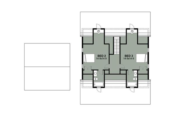 Farmhouse Floor Plan - Upper Floor Plan Plan #497-8