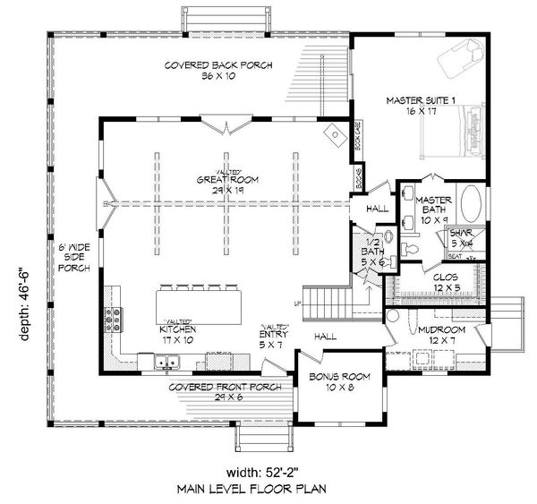 Cabin Floor Plan - Main Floor Plan Plan #932-49