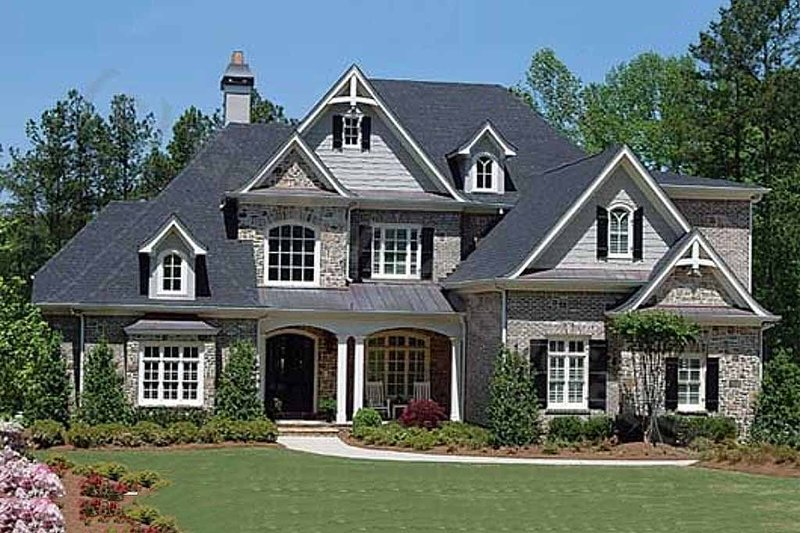 European Style House Plan - 5 Beds 4.5 Baths 4496 Sq/Ft Plan #54-163 Exterior - Front Elevation