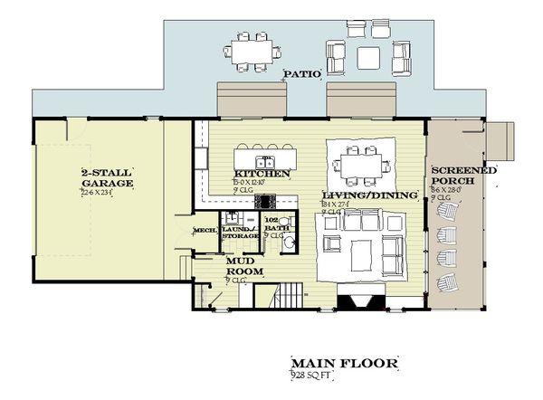 Farmhouse Floor Plan - Main Floor Plan Plan #901-140