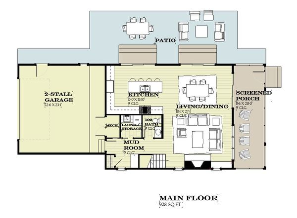 Farmhouse Floor Plan - Main Floor Plan #901-140