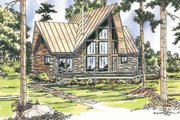 Log Style House Plan - 2 Beds 2 Baths 1216 Sq/Ft Plan #124-259 Exterior - Front Elevation