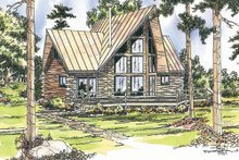 Home Plan - Log Exterior - Front Elevation Plan #124-259