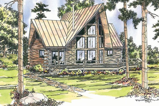 Log Exterior - Front Elevation Plan #124-259