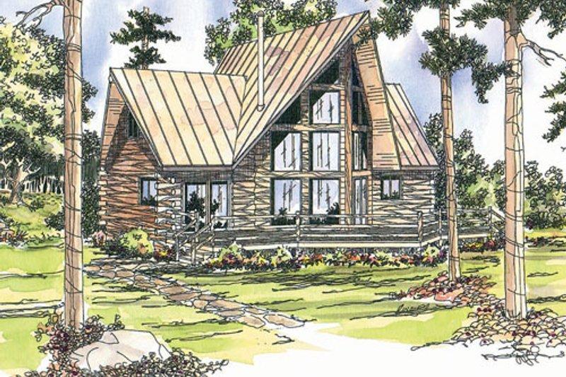 Home Plan - Log Exterior - Front Elevation Plan #124-259
