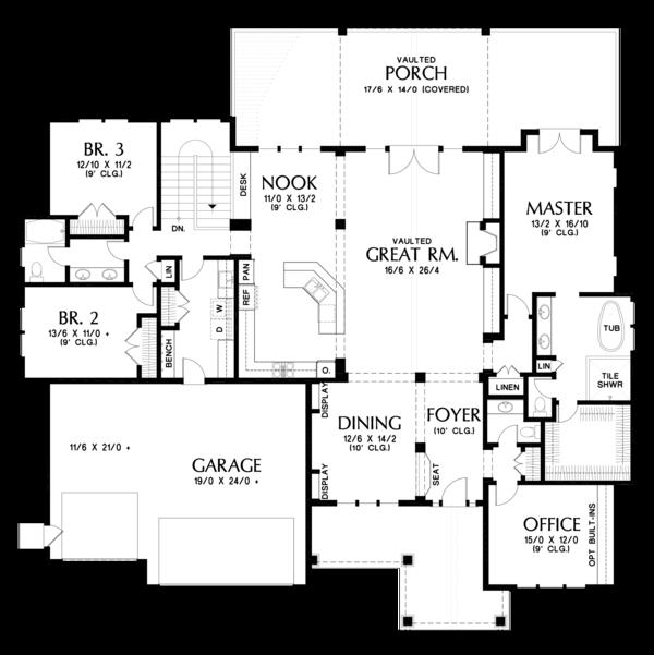 Craftsman Floor Plan - Main Floor Plan #48-673