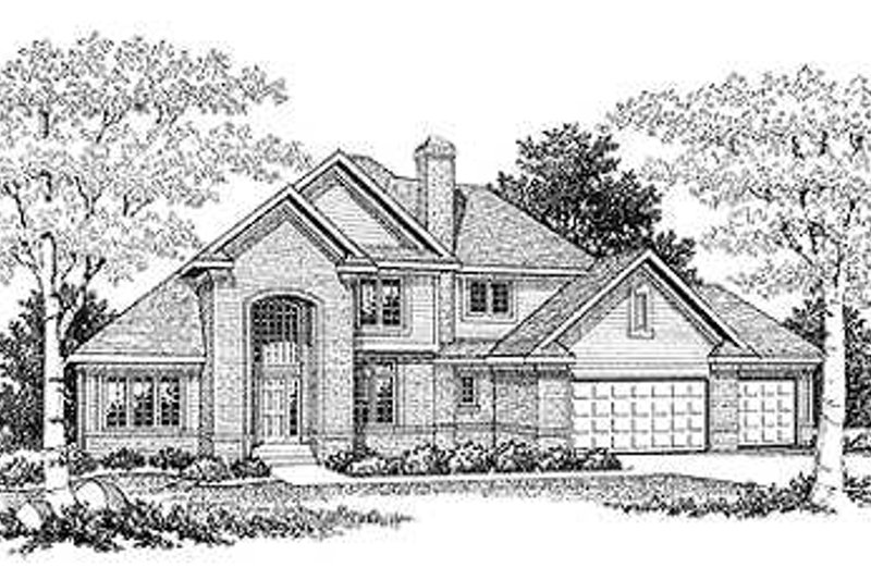 Traditional Style House Plan - 3 Beds 2.5 Baths 2512 Sq/Ft Plan #70-404 Exterior - Front Elevation