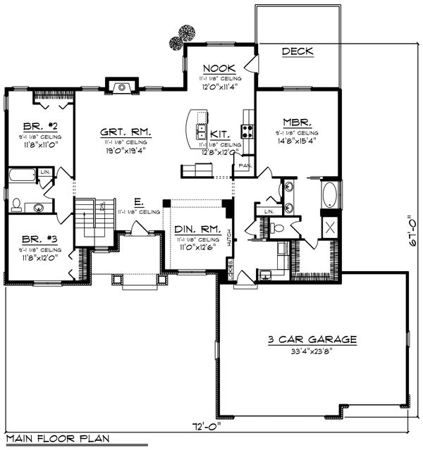 Craftsman Floor Plan - Main Floor Plan #70-1195