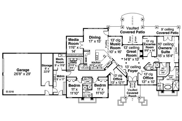 Contemporary Floor Plan - Main Floor Plan #124-1127