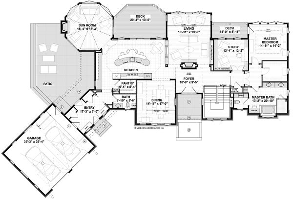 Traditional Floor Plan - Main Floor Plan Plan #928-332