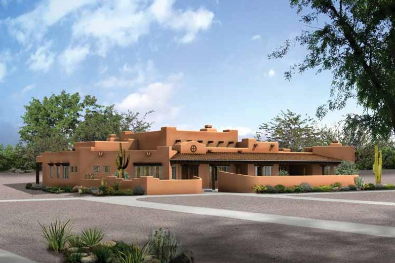 House Blueprint - Adobe / Southwestern Exterior - Front Elevation Plan #72-187
