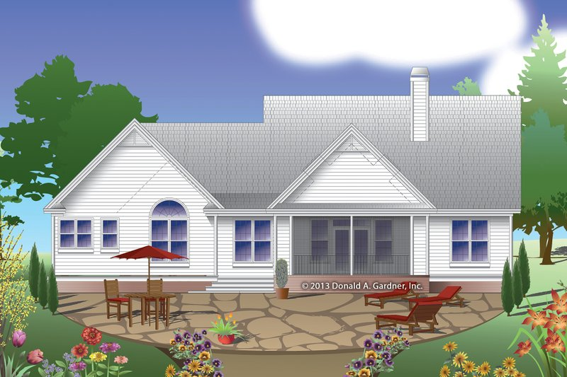 Country Exterior - Rear Elevation Plan #929-8 - Houseplans.com