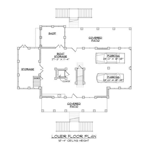 Beach Floor Plan - Lower Floor Plan Plan #1054-84