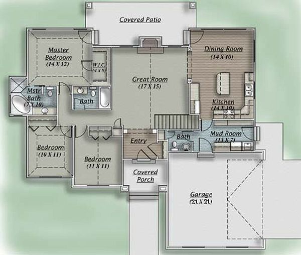 Traditional Floor Plan - Main Floor Plan Plan #5-110