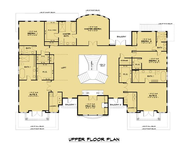 House Plan Design - Mediterranean Floor Plan - Upper Floor Plan #1066-124