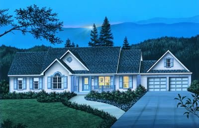 Country Exterior - Front Elevation Plan #57-140 - Houseplans.com
