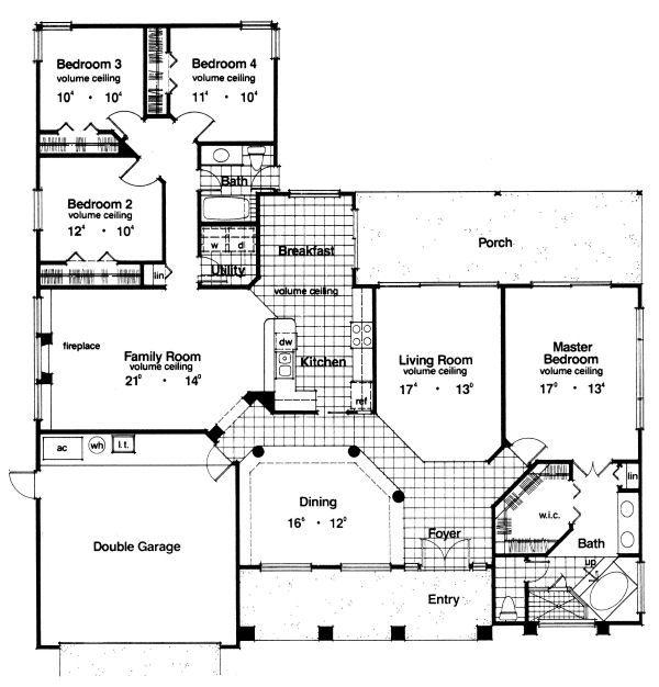 Mediterranean Floor Plan - Main Floor Plan Plan #417-202