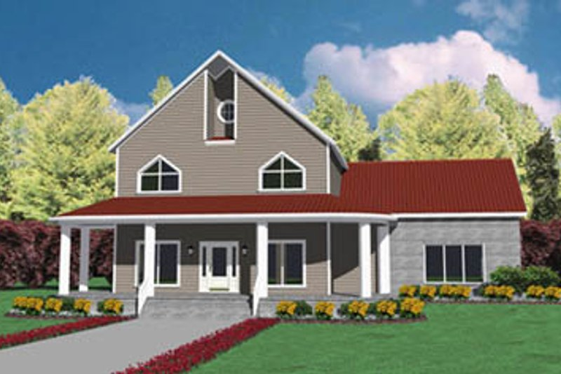 Modern Style House Plan - 4 Beds 3 Baths 2586 Sq/Ft Plan #36-217 Exterior - Front Elevation