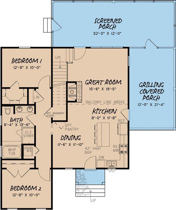 Craftsman Floor Plan - Main Floor Plan Plan #923-13