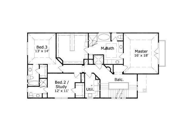 European Floor Plan - Upper Floor Plan #411-649
