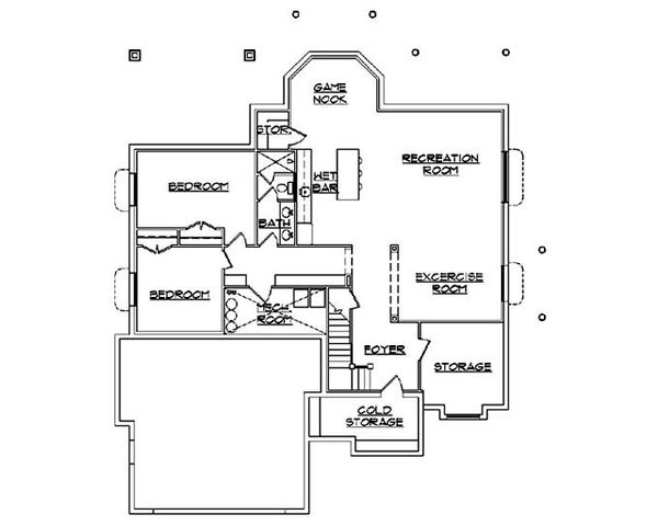 House Plan Design - European Floor Plan - Lower Floor Plan #5-370