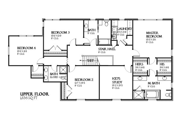 Colonial Floor Plan - Upper Floor Plan Plan #901-115