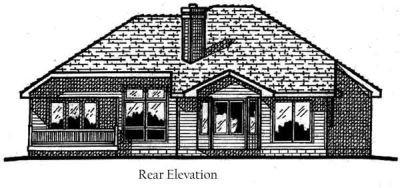 Traditional Exterior - Rear Elevation Plan #20-155 - Houseplans.com