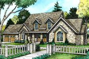 Country Style House Plan - 4 Beds 3 Baths 4249 Sq/Ft Plan #140-115 Exterior - Front Elevation