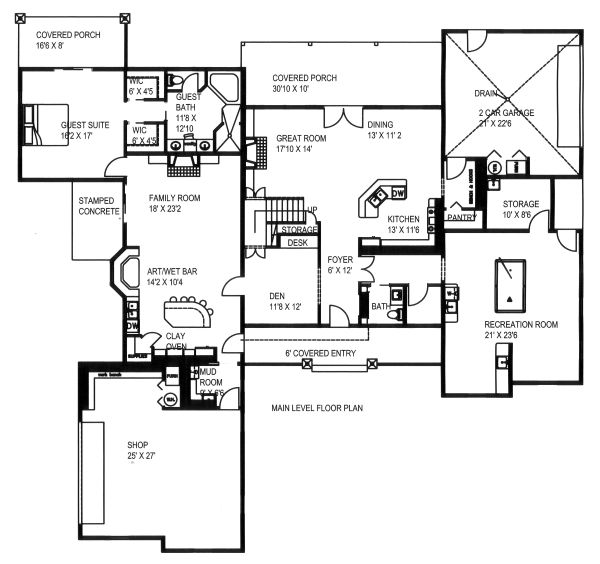 Craftsman Floor Plan - Main Floor Plan Plan #117-879