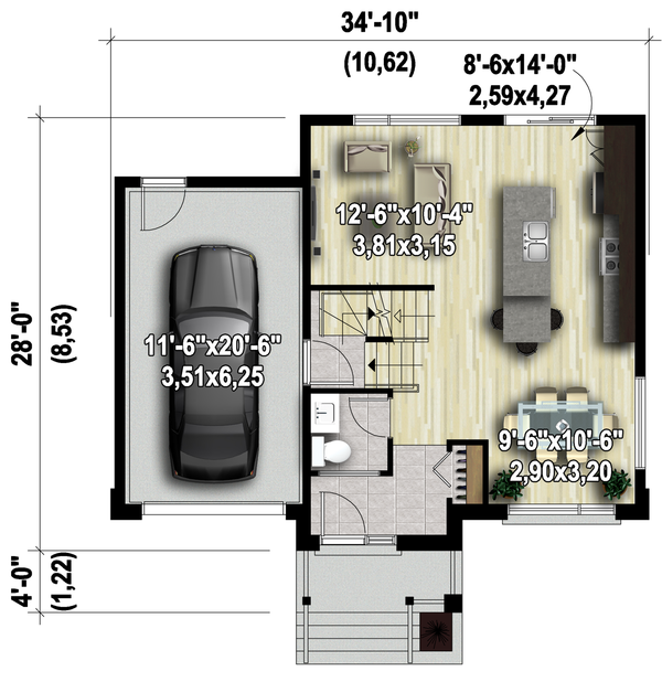 Contemporary Floor Plan - Main Floor Plan Plan #25-4572