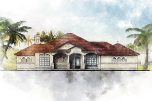 Mediterranean Exterior - Front Elevation Plan #80-117