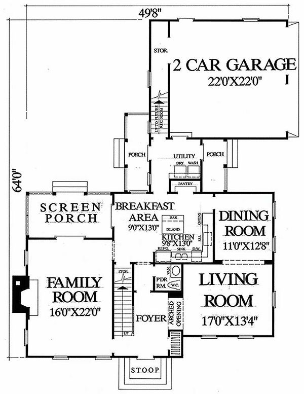 Dream House Plan - Colonial Floor Plan - Main Floor Plan #137-178