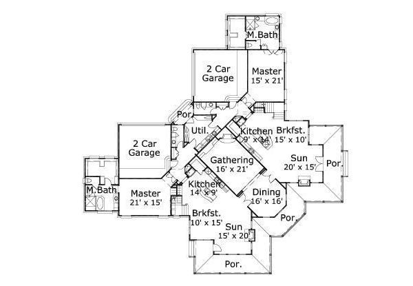 Traditional Floor Plan - Main Floor Plan Plan #411-398