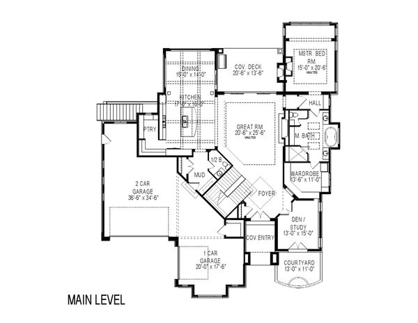 Contemporary Floor Plan - Main Floor Plan Plan #920-85
