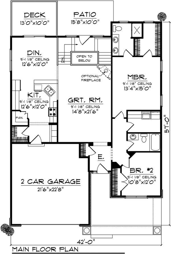 Ranch Floor Plan - Main Floor Plan Plan #70-1026
