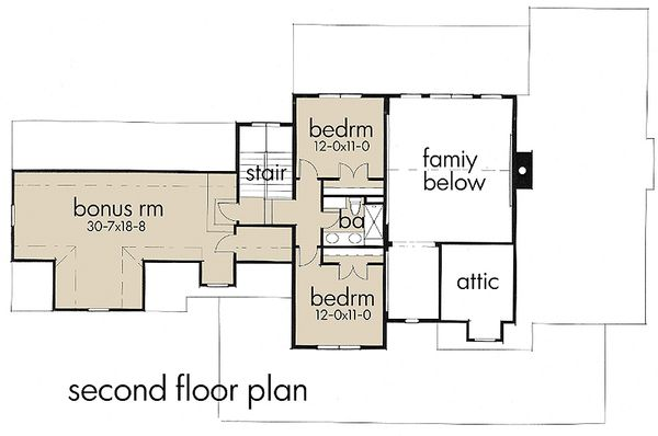 Country style house plan, upper level floor plan