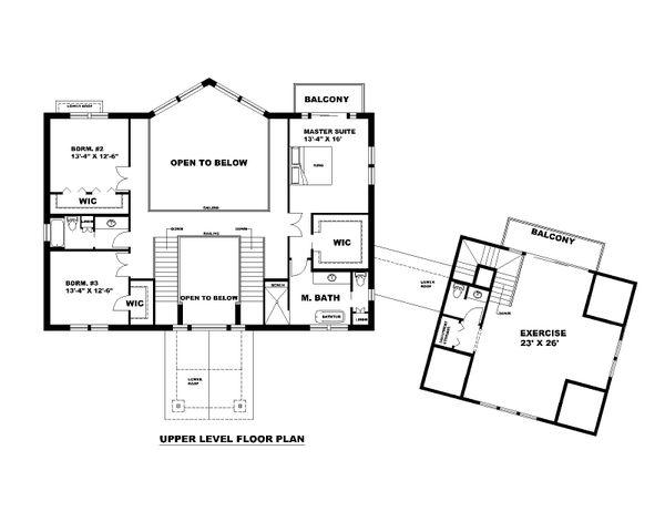 Dream House Plan - Traditional Floor Plan - Upper Floor Plan #117-907